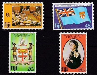 FIJI #434-437 MNH 10th ANNIV. OF INDEPENDENCE
