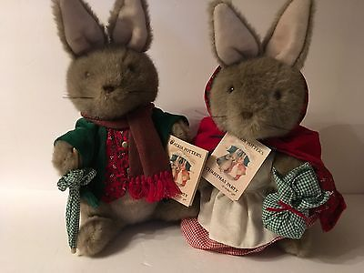 Vtg Beatrix Potter's Christmas Party Mr. & Mrs. Bunny Plush Stuffed NWT Eden