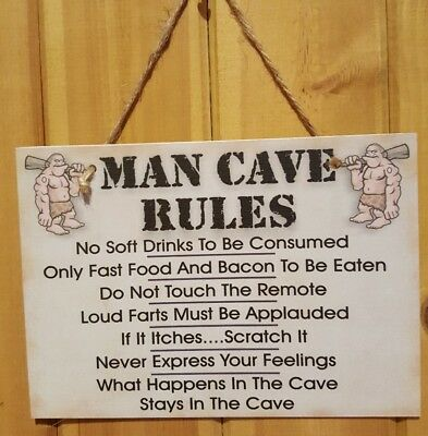 MAN CAVE RULES Plaque Sign Friendship Funny Gift Birthday Thank You NEW.