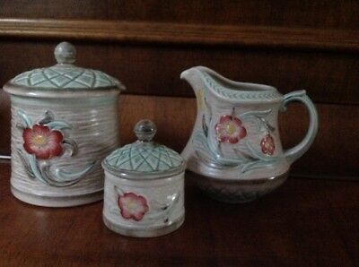 H J Wood Burslem Jug + 2 Condiment Pots