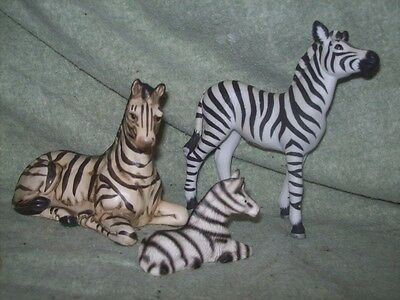 Lot of 3 porcelain / ceramic Zebra figurines Andrea by Sadek, UCTCI Japan