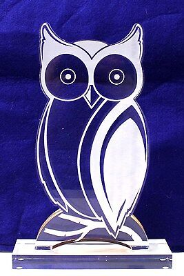 "HOOTERS RESTAURANT Hootie the Owl 10-3/4"" Clear Acrylic Figure"
