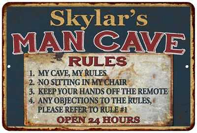 Skylar's Man Cave Rules Chic Rustic Green Sign Home Décor Gift Cave 81209641