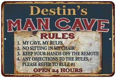 Destin's Man Cave Rules Chic Rustic Green Sign Home Décor Gift Cave 81209767