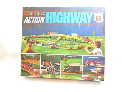 Vintage 1967 Motorific Action Highway 88 By Ideal With Car And Tow Truck Vehicle