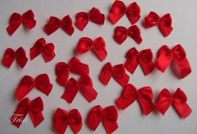 50 x Small Red Satin Bows ~ Ideal for Christmas Card-making