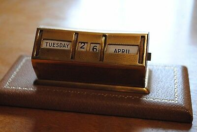 Leathersmith of London with Perpetual Day/Date/Month Desk Calendar