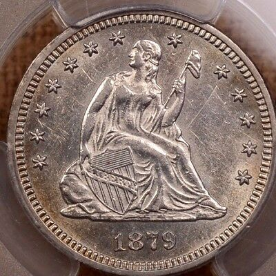 1879 Rare date Seated quarter, PCGS AU58, lovely example   DavidKahnRareCoins