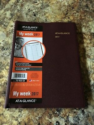 """AT-A-GLANCE Weekly Appointment Book / Planner 2017 8-1/4 x 10-7/8"""" Winestone"""