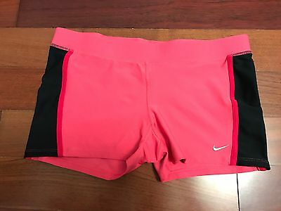 Nike Dri Fit Women's Athletic Workout Running Shorts Pink Black RN 56323 Large L