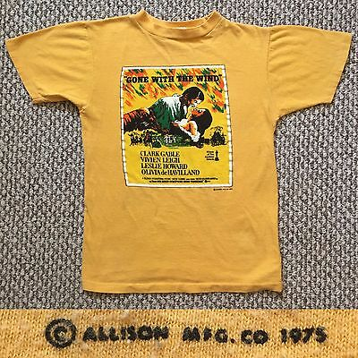 Vintage Vtg 1970s 70s ALLISON GONE WITH THE WIND T Shirt Yellow Cotton Movie