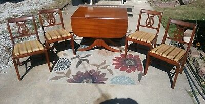 antique vtg Duncan Phyfe double drop leaf dining table with 4 lyre back chairs