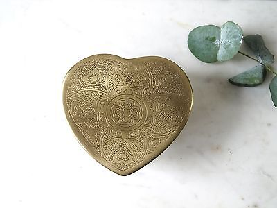 Vintage Style Brass Pot with Lid - Asian Design Heart Shaped