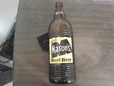 Vintage 1955 Large Masons Root Beer Soda Bottle 32 oz Quart ACL Chicago Illinois