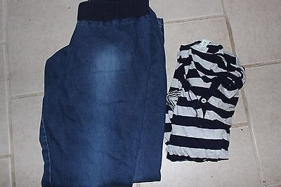 WOMEN'S SIZE MEDIUM MATERNITY OUTFIT Motherhood Top & Oh Baby Dark Wash Jeans