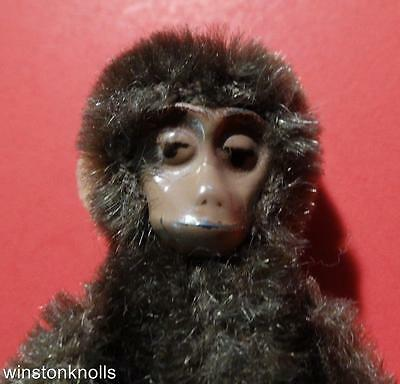 """RARE TERRIFIC 1930's SCHUCO  9CM 3 1/2"""" BROWN METAL FACE JOINTED MONKEY"""