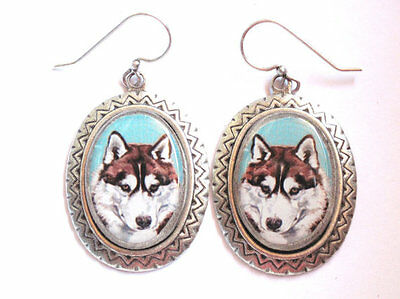 Siberian Husky original art earrings