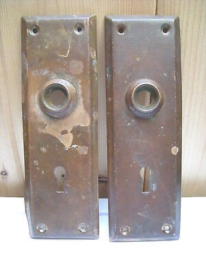 Antique Two (2) Solid Brass Keyed Door Knob Plates