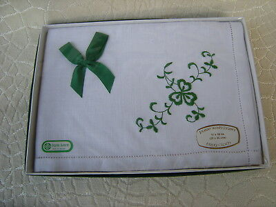 Vintage New Old Stock Pure Irish Linen Tray Cloth Green Shamrock Design