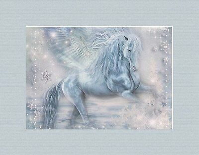 Shimmering Matted Winged Horse Art * Ice Fantasy Pegasus