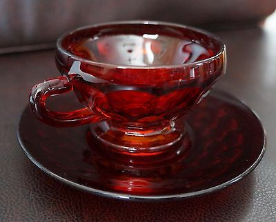Vintage ruby red cup and saucer. Honeycomb pattern