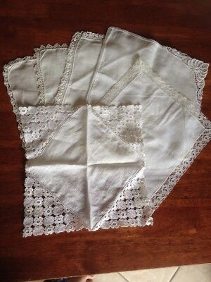 6 Ladies Vintage Hankies Handkerchiefs. An Embroidered Mix