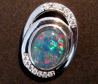 Stunning Multicolour Australian Opal and Sterling Silver Pendant
