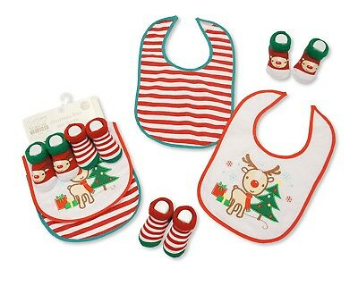 Pack of 4 Baby Christmas Bibs and Socks Gift Set 0/6 Months