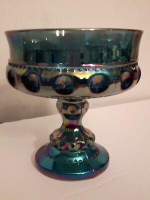 Indiana Harvest Blue carnival glass Kings compote bowl candy dish bubble style