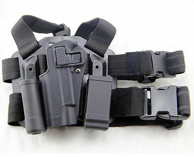 Military Drop Leg Left Hand Holster With Magazine Flashlish Pouch For Colt 1911