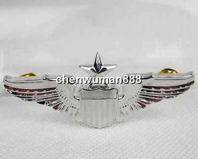 Wwii Ww2 Ornate Usaf Force Senior Pilot Wings Amico Pin Badge Brooch Silver