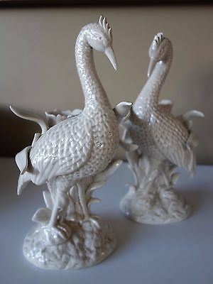 FITZ & FLOYD JAPAN ! PAIR RETRO 70s ! PUTTY WHITE CERAMIC CRANE CANDLESTICKS