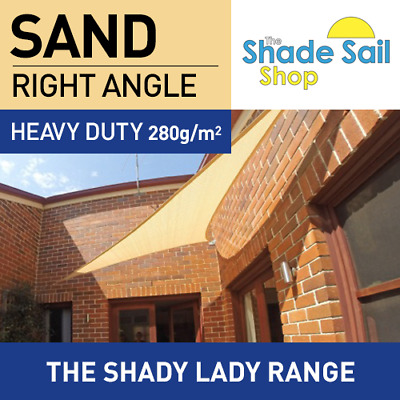 Shade Sail Right Angle Triangle 4X6X7.21m SAND 280gsm Super strong 4 X 6 X 7.21m