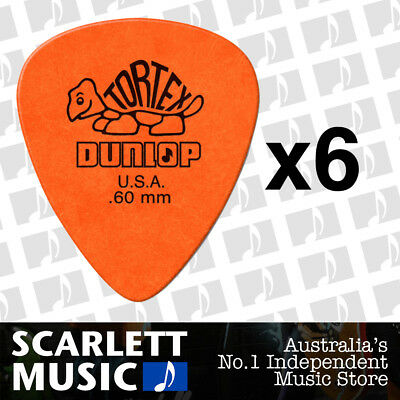 6 x Jim Dunlop Tortex Standard .60mm Orange Picks Plectrums .60 *SIX PICKS*