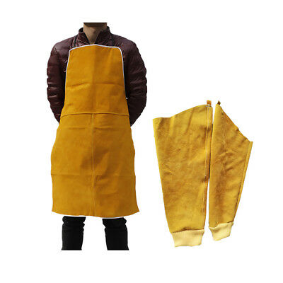 1 Pair Welding Sleeves Elastic Cuff Arms Protector & Welding Apron Yellow
