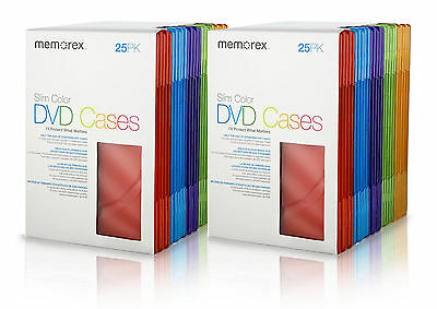 2X Memorex DVD Cases Slim Cool Color 25 Pack Each ( 50 Cases )