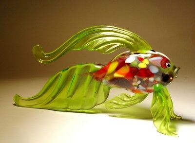 """Blown Glass Figurine """"Murano"""" Art Exotic Green FISH with Red Speckled Body"""