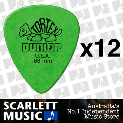 12 x Jim Dunlop Standard Tortex .88mm Green Picks Plectrums .88 *TWELVE PICKS*
