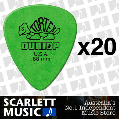 20 x Jim Dunlop Standard Tortex .88mm Green Picks Plectrums .88 *TWENTY PICKS*