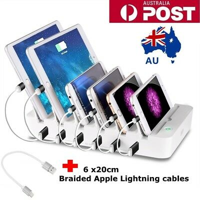 6 Port USB Smart Charging Station Charger iPad iPhone Samsung LG Dock Stand
