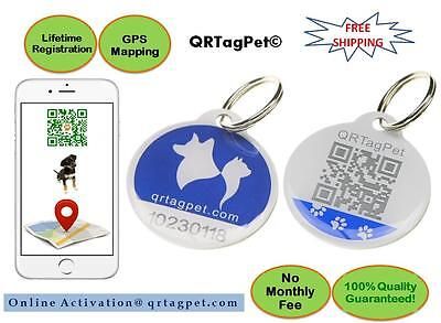 QR Pet Smart ID Collar Tag / Charm for Dogs / Cats Lost-Found with GPS Tracking