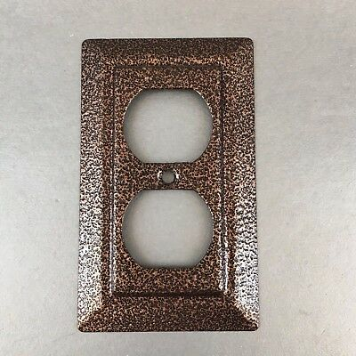 Vintage Coppertone Decorative Metal Single Outlet Plate Cover Brass MCM