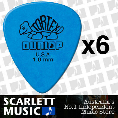 6 x Jim Dunlop Standard Tortex 1.00mm Blue Picks Plectrums 1.00 *SIX PICKS*