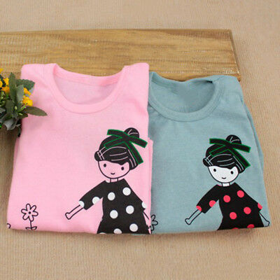 Kids Baby Girl soft Long Sleeve T-Shirt Cotton Crew Neck Tee Shirt Tops FOR 2-7Y