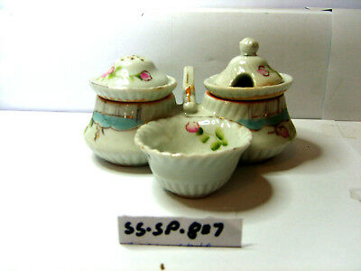 early style open salt pepper and mustard salt and pepper shakers
