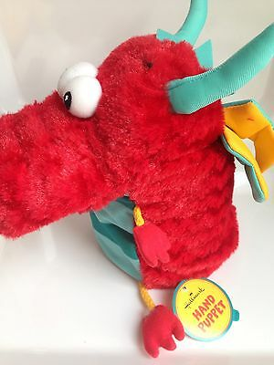 New W/Tags! Hallmark Large Head Plush Hand Puppet Toy DRAGON Pretend Play