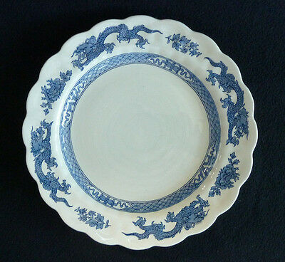 Booths Dragon A8029 Blue & White China 25 cm  Dinner / Cake Plate