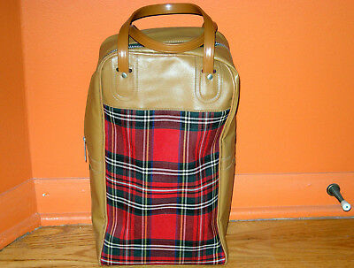 Vintage King Seely Thermos Tote Bag Red Plaid On Tan Vinyl Great Condition