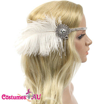 1920s Headband White Feather Bridal Great 20s Gatsby Flapper Headpiece Gangster