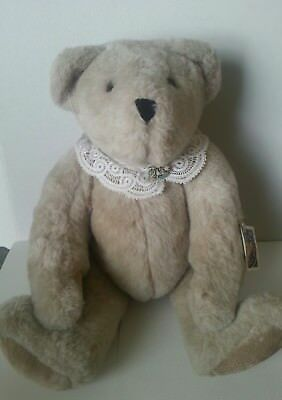 """Vermont Teddy Bear 20"""" Large Tan Lace Collar Jointed Plush w/ Tags"""